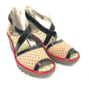 Fly London Yosi Wedge Platform Sandals size 11